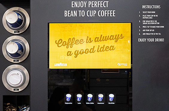 Coffee Machine Large Screen for in-store Promotions
